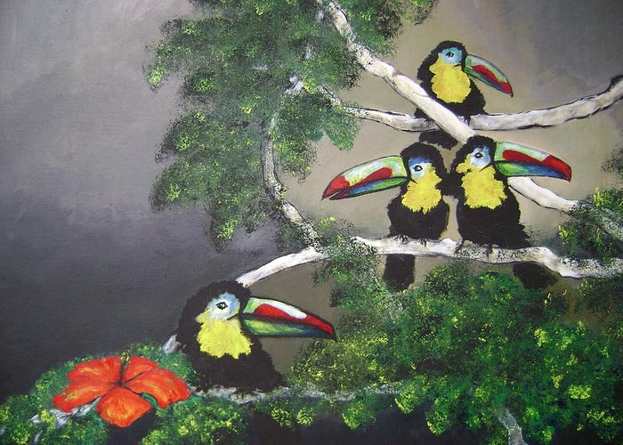 Birds Greeting Card featuring the painting A New Day by Laura Johnson