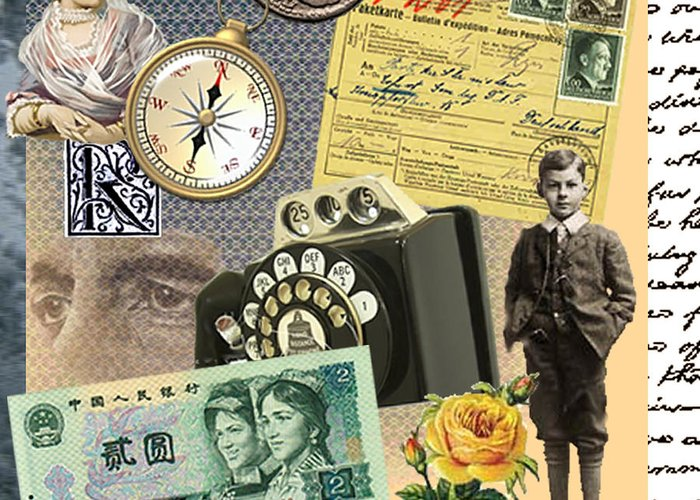 Child Compass Telephone Lady Coin Hitler Yellow Rose Face Banknote Handwriting Writing New World Greeting Card featuring the digital art A New World To Grow Up In by Steve Wyburn