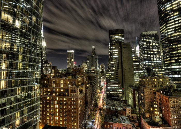 New York City Greeting Card featuring the photograph A New York City Night by Shawn Everhart