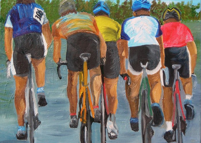 Cycling Greeting Card featuring the painting A Nice Day For A Ride by Michael Lee