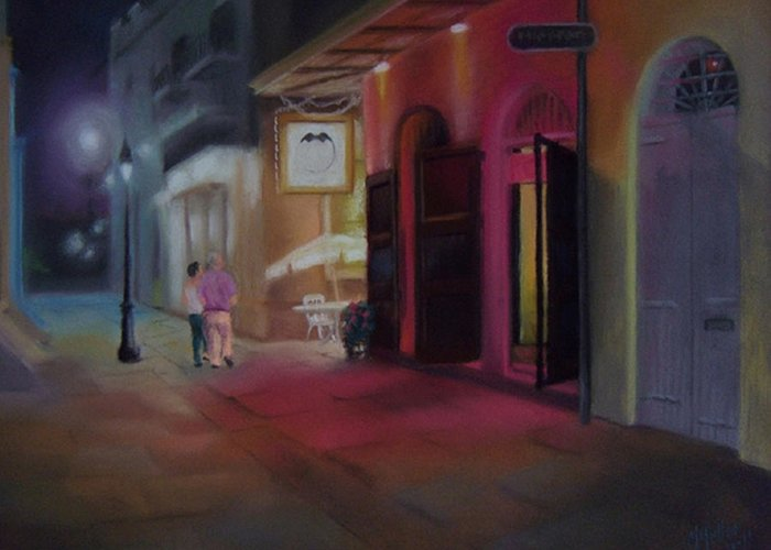 City Scapes. Evening Greeting Card featuring the pastel A Night On The Town by Marcus Moller