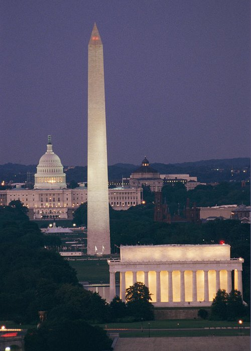 Washington Monument Greeting Card featuring the photograph A Night View Of The Lincoln Memorial by Richard Nowitz