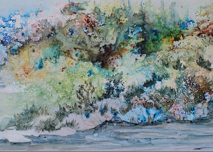Landscape Greeting Card featuring the painting A Northern Shoreline by Joanne Smoley