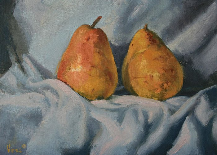Still Life Greeting Card featuring the painting A Pair by Michael Vires