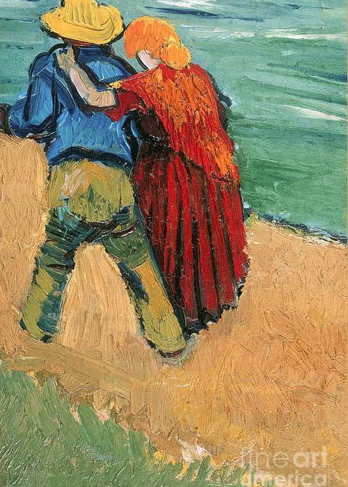Pair Greeting Card featuring the painting A Pair Of Lovers by Vincent Van Gogh