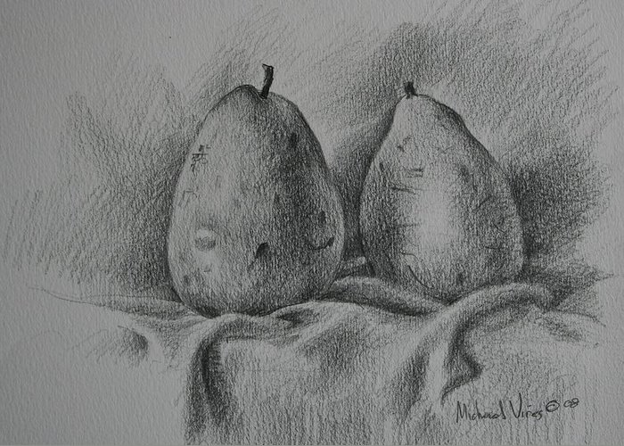 Graphite On Paper Greeting Card featuring the drawing A Pair Study by Michael Vires