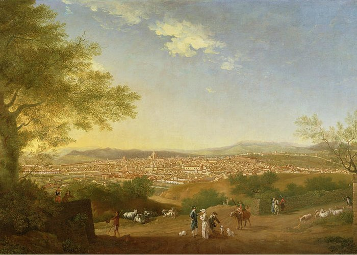 Panoramic Greeting Card featuring the painting A Panoramic View Of Florence From Bellosguardo by Thomas Patch