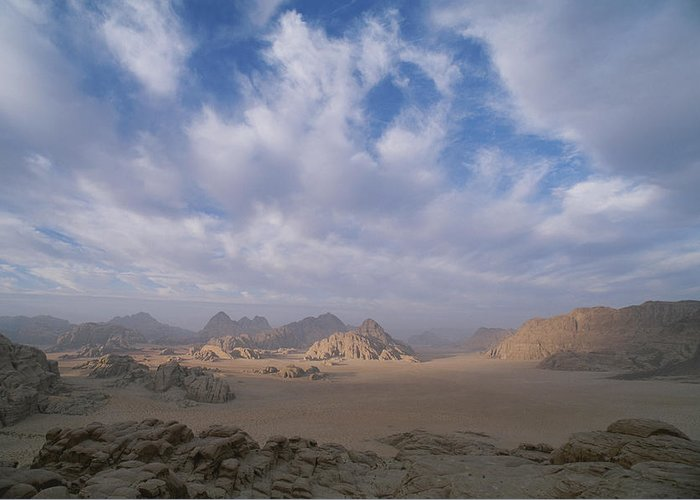Asia Greeting Card featuring the photograph A Panoramic View Of The Wadi Rum Region by Gordon Wiltsie