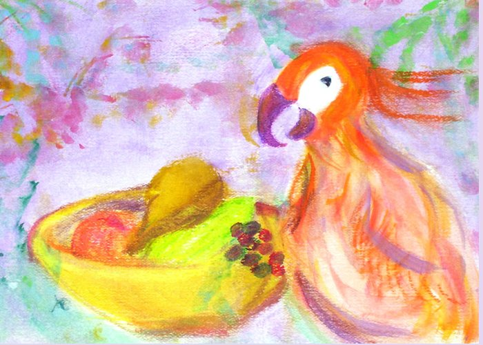 Parrot Greeting Card featuring the painting A Parrot And The Passion Fruit by Michela Akers