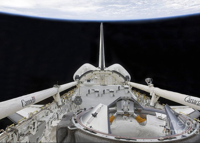 Sts-127 Greeting Card featuring the photograph A Partial View Of Space Shuttle by Stocktrek Images