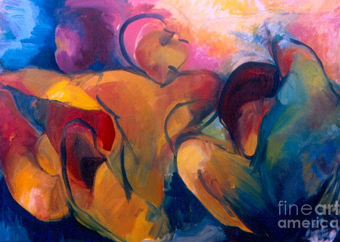 Oil Painting Greeting Card featuring the painting A Passion To Be Raised by Daun Soden-Greene