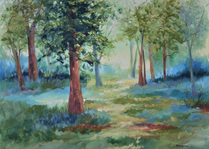Trees Greeting Card featuring the painting A Path Not Taken by Ginger Concepcion