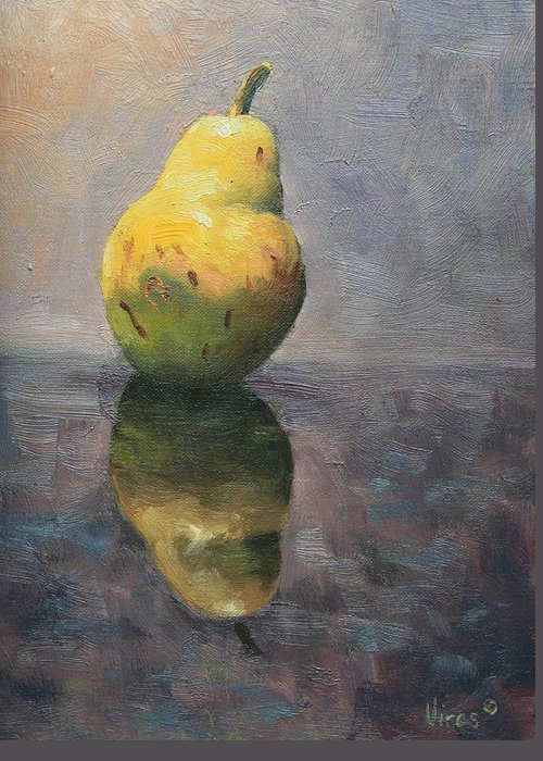 Oil Painting Greeting Card featuring the painting A Pear by Michael Vires