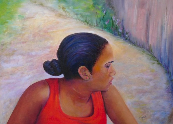 Portrait Greeting Card featuring the painting A Penny for Your Thoughts by Merle Blair