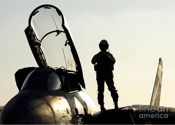 Horizontal Greeting Card featuring the photograph A Pilot Prepares To Enter His F-14b by Stocktrek Images