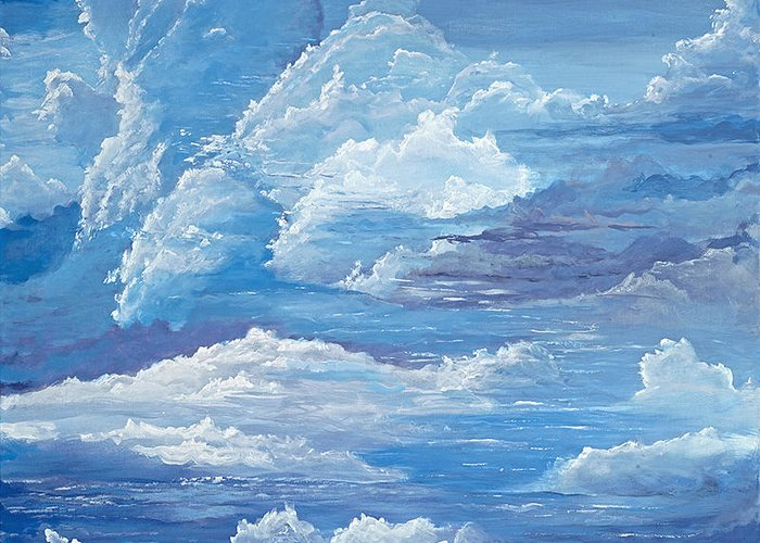 Clouds Clouds Greeting Card featuring the painting Flying by John Wise