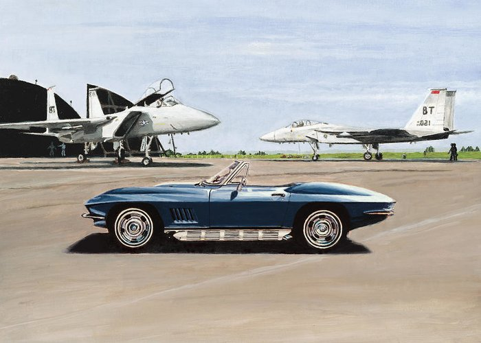 Corvette Greeting Card featuring the painting A Pilots Dream by Richard Herron
