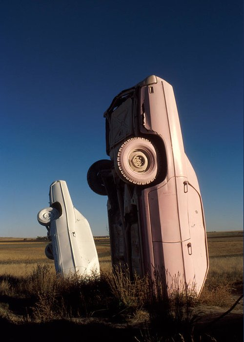 Carhenge Greeting Card featuring the photograph A Pink Caddilac In The Morning by Jerry McElroy