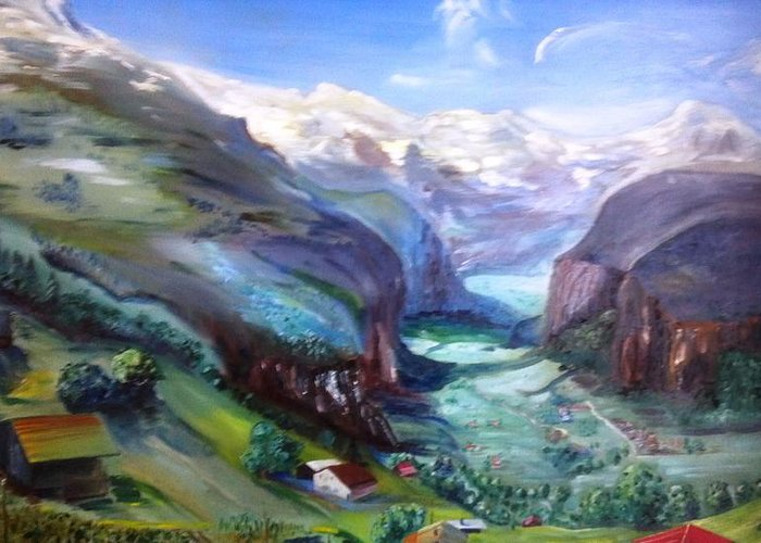 Swiss Alps In Summer Mountainscape Greeting Card featuring the painting A Place Touched By God by Alfred P Verhoeven