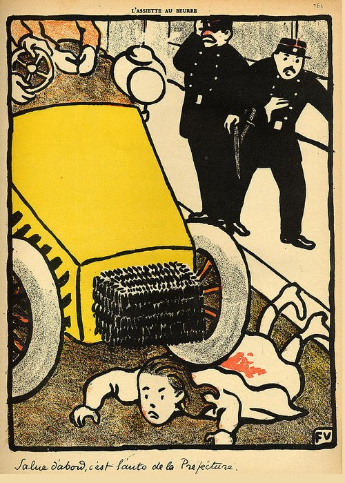 Injustice; Cruelty; Brutality; Abuse; Policeman; Policemen; French; Illustration; Female; Outrage; Authority Greeting Card featuring the painting A Police Car Runs Over A Little Girl by Felix Edouard Vallotton