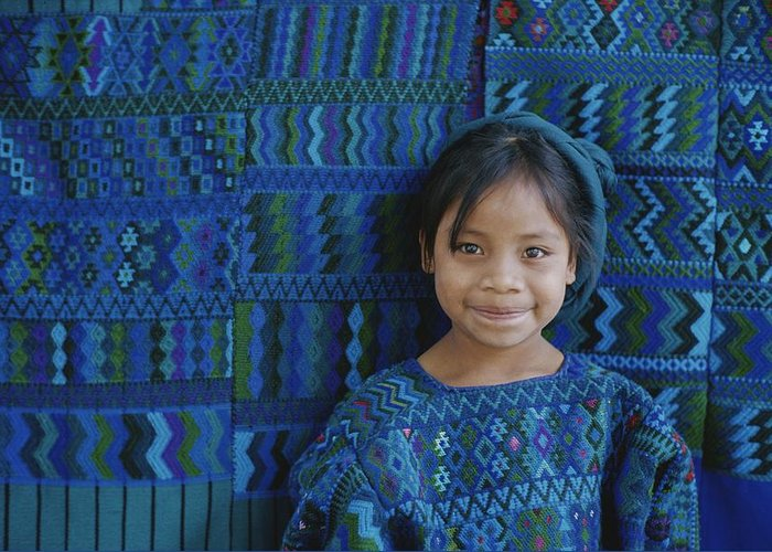 Fabric Greeting Card featuring the photograph A Portrait Of A Guatemalan Girl by Raul Touzon