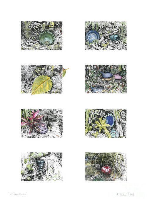 Tropical Greeting Card featuring the drawing A Potters Garden by Kerryn Madsen-Pietsch