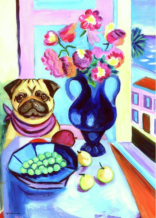 Pug Dog Greeting Card featuring the painting A Pug's Dinner At Henri's - Pug by Lyn Cook