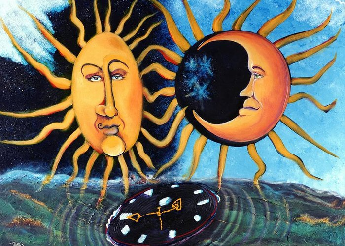 Sun Greeting Card featuring the painting A Quarter Til Becoming One by Dennis Tawes