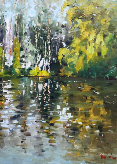 Landscape Greeting Card featuring the painting A Quiet Afternoon Reflection by Ylli Haruni