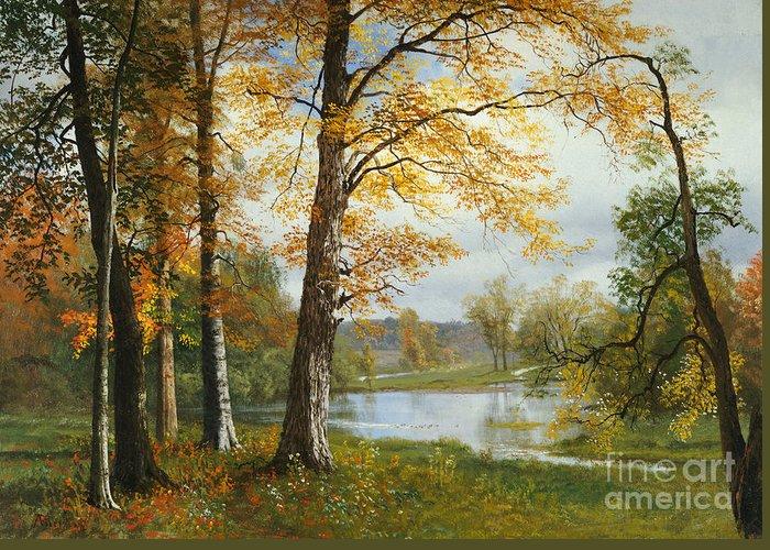 Albert Bierstadt Greeting Card featuring the painting A Quiet Lake by Albert Bierstadt