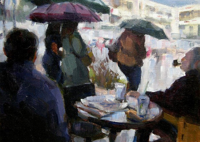 Urban Greeting Card featuring the painting A Rainy Day At Starbucks by Merle Keller