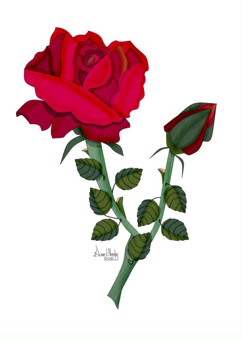 Rose Greeting Card featuring the painting A Red Rose Blooms In Winter by Anne Norskog