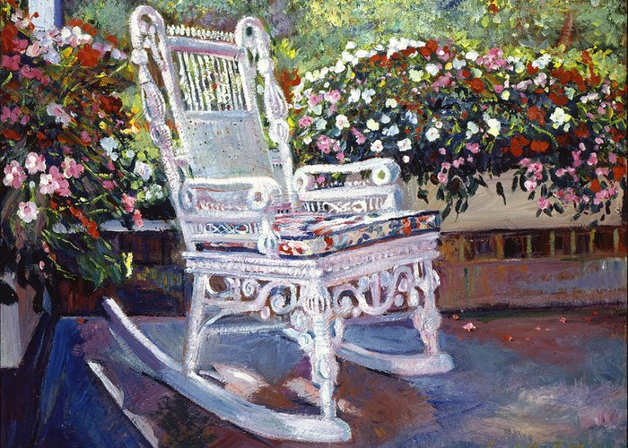 Rocking Chairs Greeting Card featuring the painting A Rest In The Shade by David Lloyd Glover