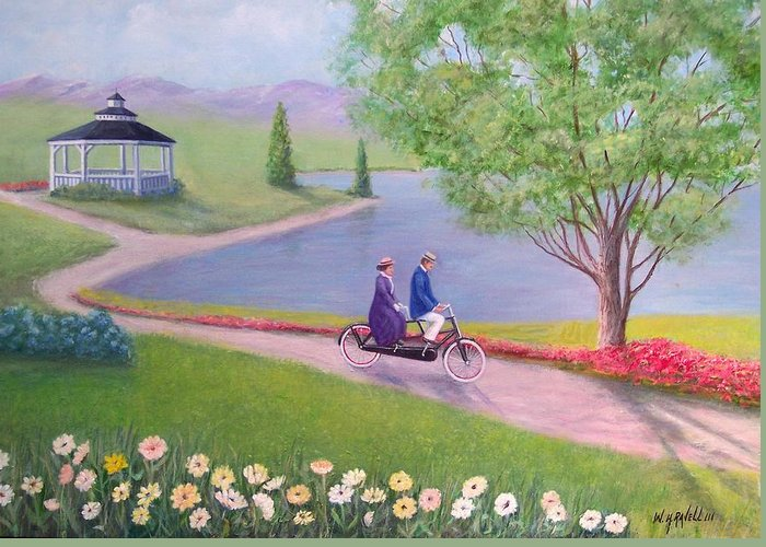 Landscape Greeting Card featuring the painting A Ride In The Park by William H RaVell III