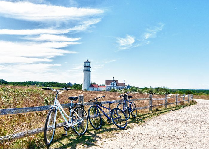Light House Greeting Card featuring the photograph A Ride On The Cape by Linda Pulvermacher