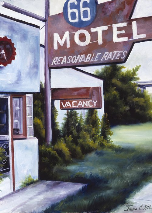 Motel; Route 66; Desert; Abandoned; Delapidated; Lost; Highway; Route 66; Road; Vacancy; Run-down; Building; Old Signage; Nastalgia; Vintage; James Christopher Hill; Jameshillgallery.com; Foliage; Sky; Realism; Oils Greeting Card featuring the painting A Road Less Traveled by James Christopher Hill