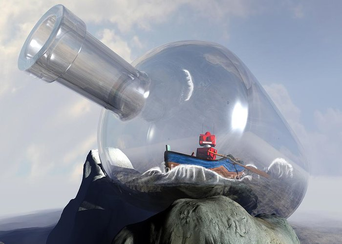 Science Fiction Greeting Card featuring the digital art A Robot In A Bottle by Michael Knight