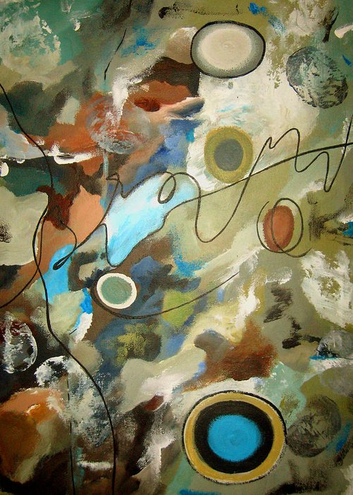Abstract Greeting Card featuring the painting A Rolling Stone Gathers No Moss by Ruth Palmer