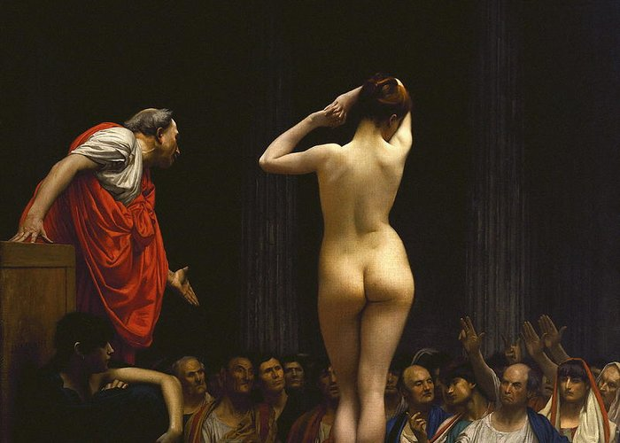 Art Greeting Card featuring the painting A Roman Slave Market by Jean - Leon Gerome