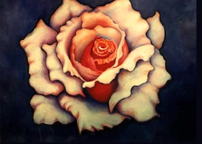 Flower Greeting Card featuring the painting A Rose by Jordana Sands
