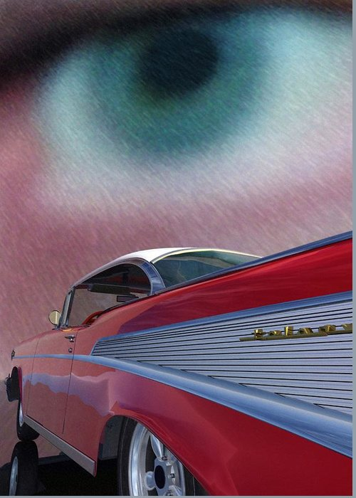 Classic Cars Greeting Card featuring the digital art A Second Look by Richard Rizzo
