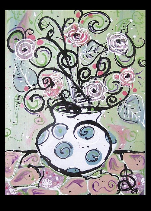 Floral Greeting Card featuring the painting A Shabby Rendition by Amanda Sanford