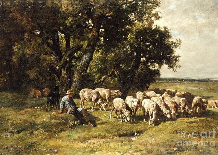 A Shepherd And His Flock Greeting Card featuring the painting A Shepherd And His Flock by Charles Emile Jacques