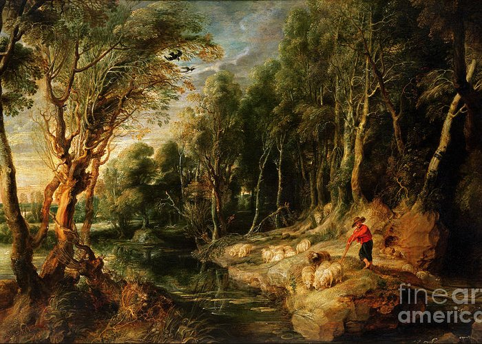 Shepherd Greeting Card featuring the painting A Shepherd With His Flock In A Woody Landscape by Rubens