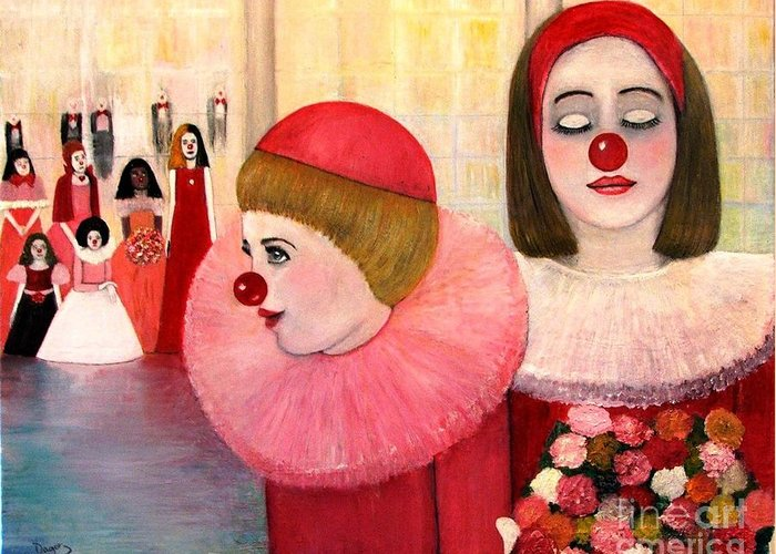 Clowns Greeting Card featuring the painting A Short Story For Pinka by Patricia Velasquez de Mera