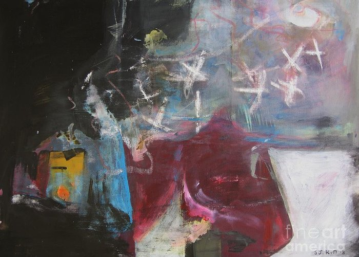 Abstract Paintings Greeting Card featuring the painting A Short Story by Seon-Jeong Kim