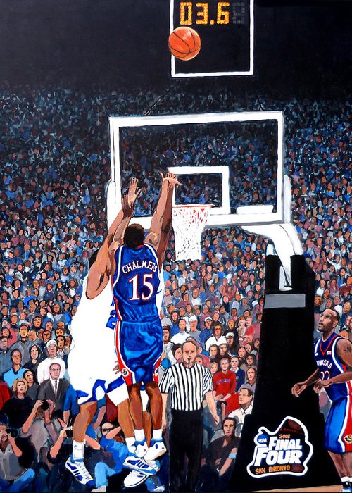 Jayhawks Greeting Card featuring the painting A Shot To Remember - 2008 National Champions by Tom Roderick