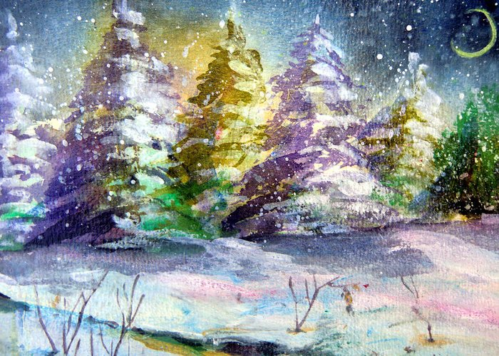 Christmas Greeting Card featuring the painting A Silent Night by Mindy Newman