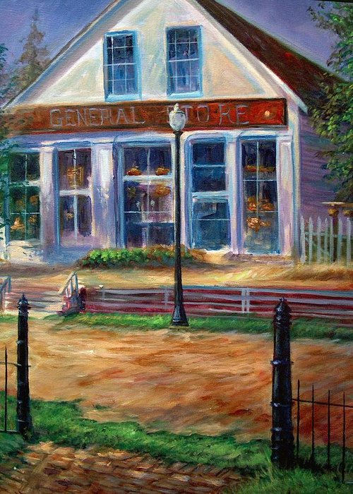 General Store Greeting Card featuring the painting A Simpler Time by Tommy Winn