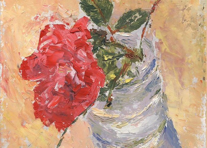 Still Life Greeting Card featuring the painting A Single Rose by Horacio Prada